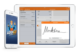 your customer signs directly on your smartphone or tablet