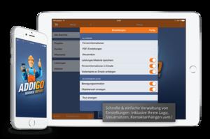 Einstellungen der ADDIGO App