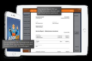 Service Report als PDF versenden, drucken oder in der Cloud speichern