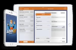 Erfassen Sie digital Kunden, Zeiten, Material, Kosten & Notizen.